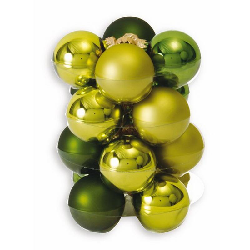 16 weihnachtskugeln in box jungle gr n 4cm weihnachten. Black Bedroom Furniture Sets. Home Design Ideas