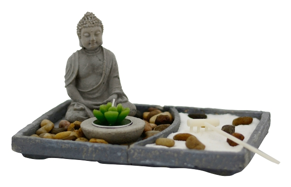 buddha garten zen l nge 24 5cm breite 16 2cm h he 7 2cm figuren tewa. Black Bedroom Furniture Sets. Home Design Ideas