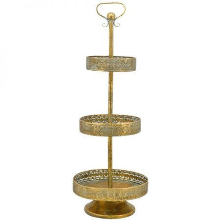 Etagere, Metall, Bronze-Gold